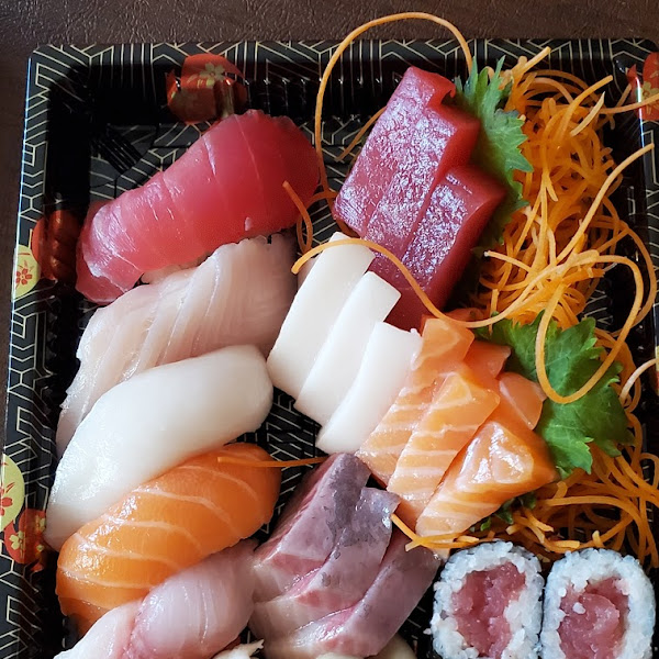 Yummy sushi sashimi combo platter made gluten free