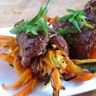 Gluten Free Asian Beef Vegetable Wraps.