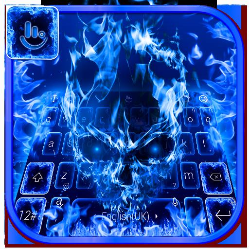 Blue Fire Skull Keyboard Theme