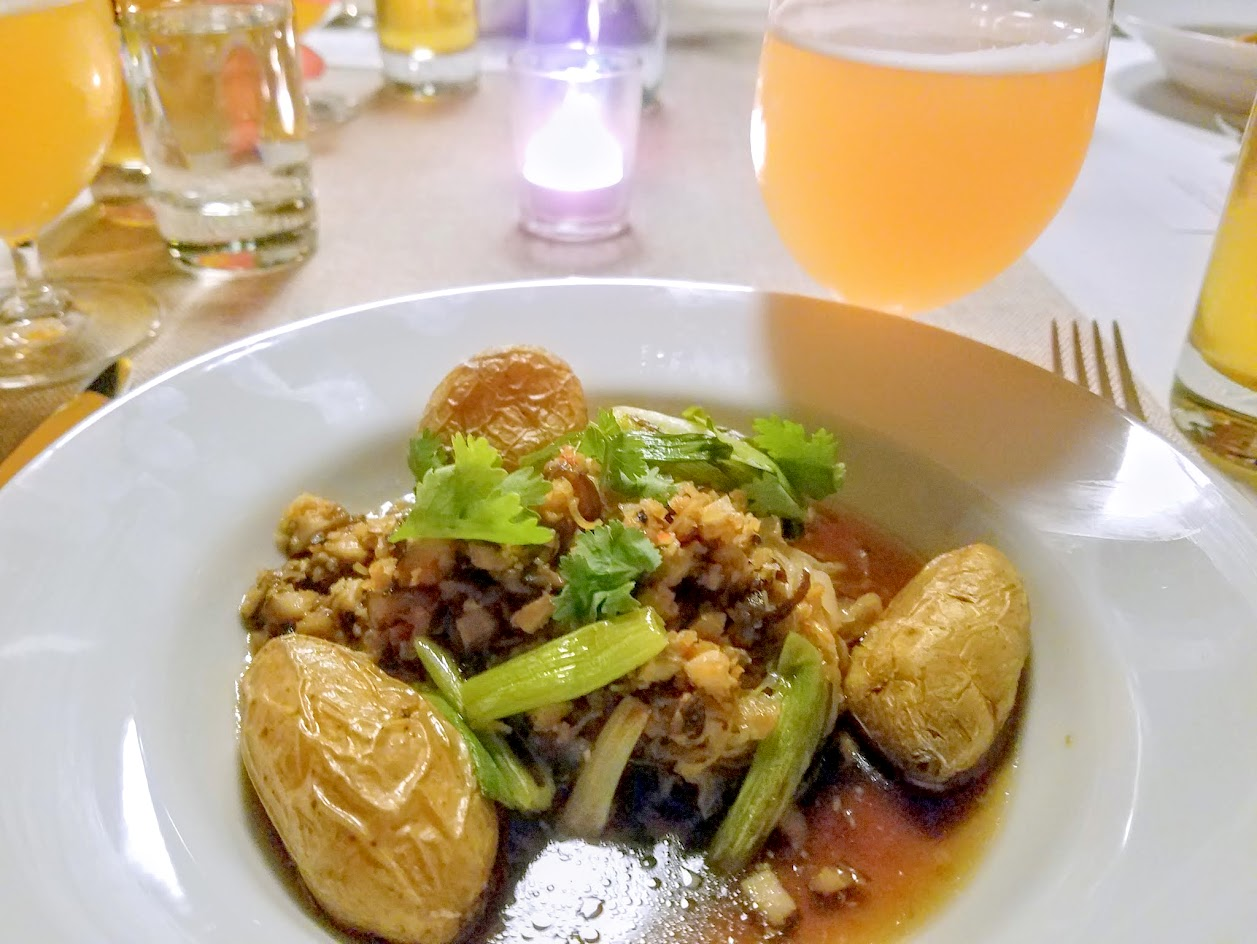 Imperial Session Beer Dinner from September 2016, 5 courses with each course paired with a beer. Course 3 Sai oua sausage, fingerling potatoes, charred green onions, mushroom demi-glace paired with Holy Mountain The Goat (Saison / Farmhouse style ale from Washington)