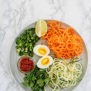 Instant Cup of Noodles with Spiralized Vegetables.