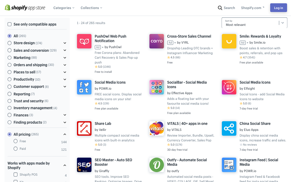 Screenshot of Shopify app store