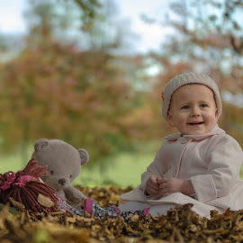 One Year Old Girl - Autumn by Jamie Ledwith - Babies & Children Children Candids ( natural light, girl, autumn, fall, baby, leaves, one year old )