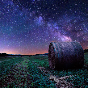 Crofton by Chris Timmerman - Landscapes Starscapes ( field, stars, hay, agriculture, night, milky way,  )