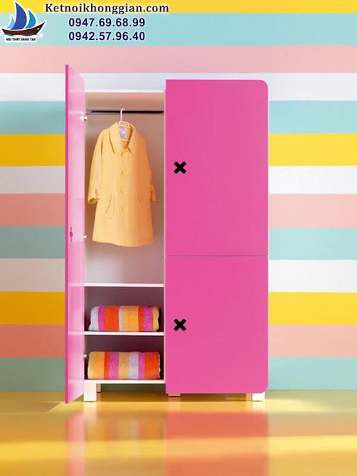 tủ đồ cho bé màu hồng