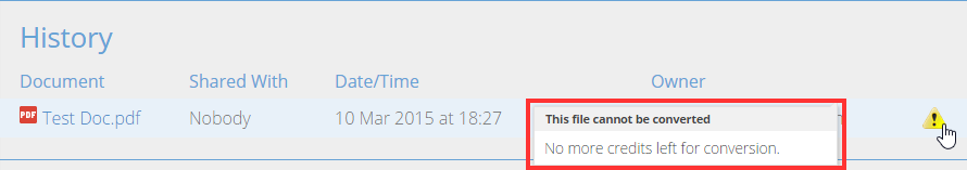 Snapverter Dashboard showing reason why a file failed