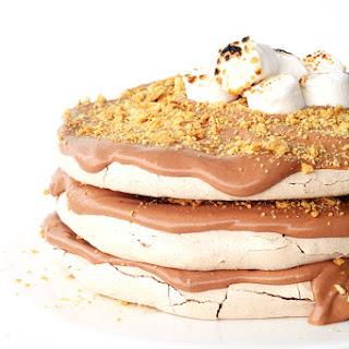 Smores Chocolate Meringue Layer Cake