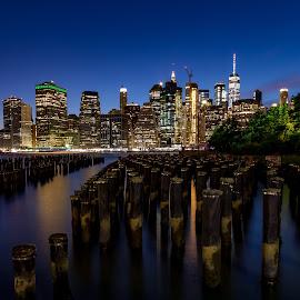Brooklyn Bridge Park by David Stinner - City,  Street & Park  Skylines ( brooklyn, sunset, cityscape, skyline, long exposure )