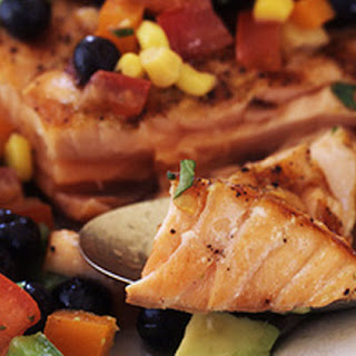 Salmon with Roasted Corn and Pepper Medley