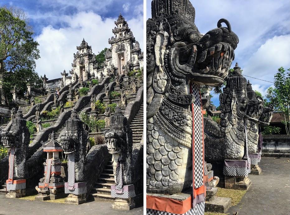The lion statues guarding the entrance to Lempuyang Temple