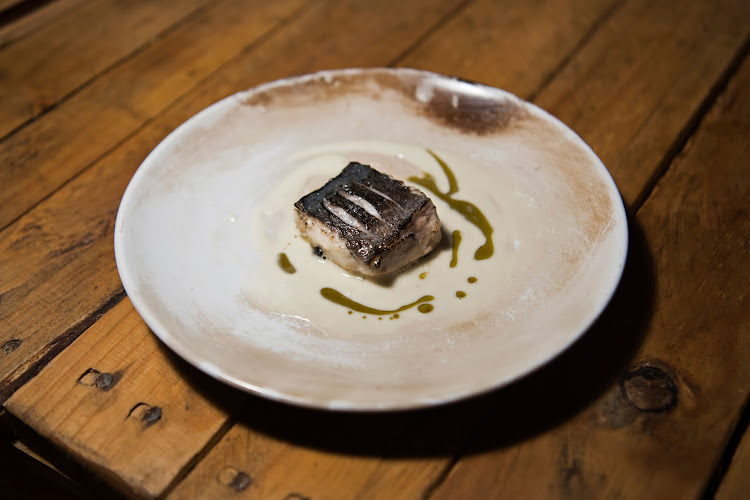 Snoek warmed over hot coals, cooked with a blow torch served on a roasted barley grain and kelp oil