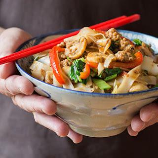 Stir-fried Pork Mince With Rice Noodles, Vegetables And Hoisin Sauce.