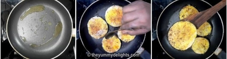 Fry the brinjal/baingan slices crisp on both the sides for brinjal fry recipe