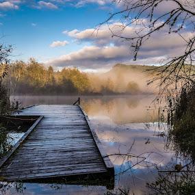 Blackburn Lake on Salt Spring Island by GThomas Muir - Landscapes Waterscapes ( clouds, foggy, fog, lake, sunrise, dock, salt spring island )