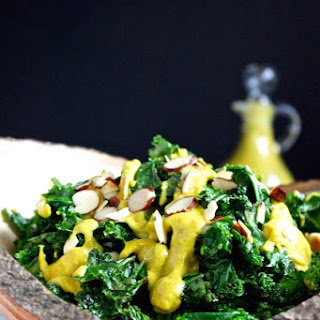 Vegan Warm Kale Salad with Roasted Red Pepper Avocado Dressing