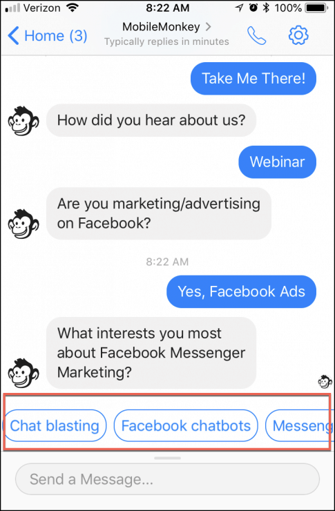 Messenger greeting example chatbot survey