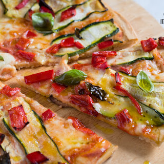 White Spelt Pizza With Zucchini And Peppers.