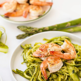 Pesto Zucchini Noodles with Shaved Asparagus and Shrimp.