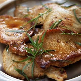 Fried Pork Chops with Tarragon and White Wine.