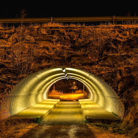 Tunnel by Edvald Geirsson - City,  Street & Park  Night ( iceland, night, stones, light, kopavogur, tunnel,  )
