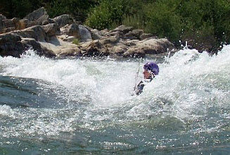 Photo: Surfing at Barking Dog Rapid, SF American River.