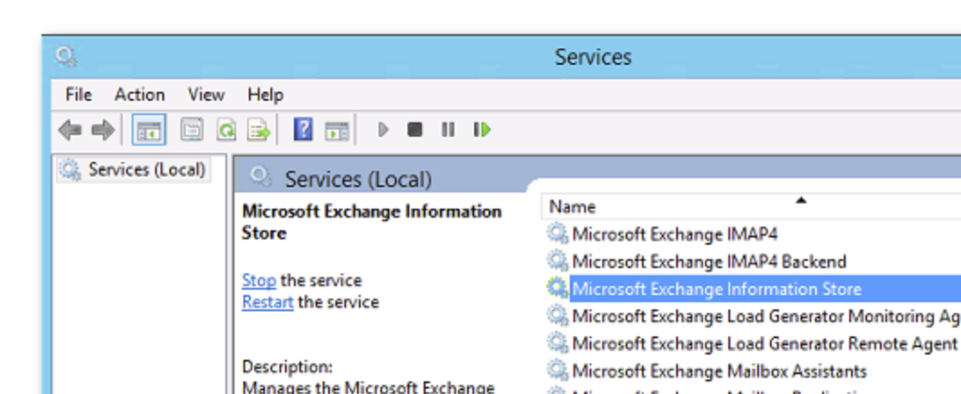 Restart Microsoft Exchange Information Store service