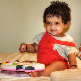 Happy by Vikas Jorwal - Babies & Children Child Portraits ( lovely, potrait, candid, baby, musician, smile )