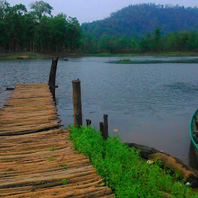 Bridge Lake Boat by Prince Frankenstein - Instagram & Mobile Android ( water, trees, lake, bridge, boat,  )