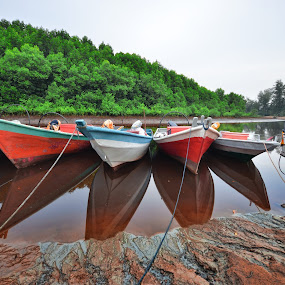 boats on river at a morning  by AbuIrfan Outdoorgraphy - Transportation Boats ( holiday, awesome, colorful, boats, river )