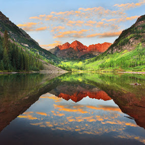 Maroon Bells Sunrise by Ravi Nori - Landscapes Mountains & Hills ( colorado )