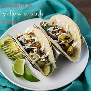 Zucchini and Yellow Squash Tacos with Mushrooms.