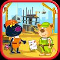 Hippo builder. Building machines icon