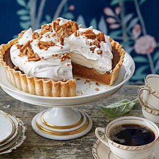 Pumpkin Tart with Whipped Cream and Almond Toffee