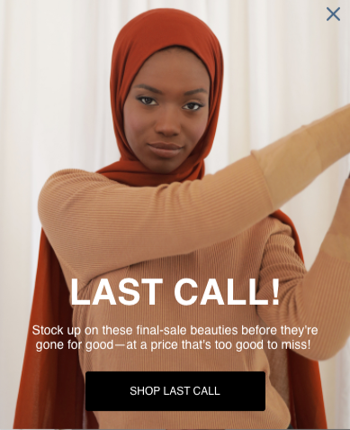 Haute Hijab's exit-intent form.