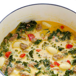 7-Ingredient Zuppa Toscana (Creamy Gnocchi Soup with Sausage and Kale).