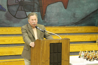Photo: Stu Greenberg, longtime champion of wheelchair basketball at the mic.