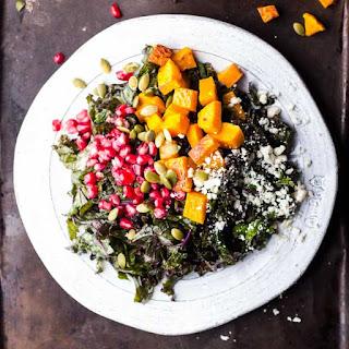 Harvest Kale Salad with Squash, Pomegranate, Feta and a Maple-Dijon Vinaigrette Recipe