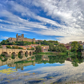 The River Orb at Beziers by Paul Atkinson - City,  Street & Park  Vistas ( languedoc, reflection, beziers, orb, south, france, cathedral, landscpae, city, river,  )