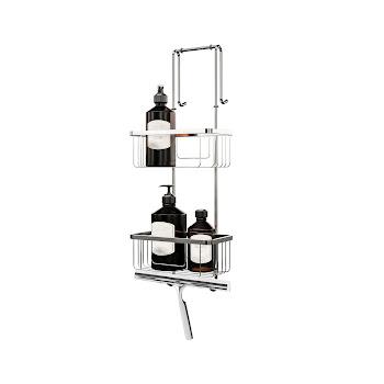 Duschablage zum Hängen, 2 Etagen, Edelstahl verchromt, 67 cm lang, Aufbewahrung von Dusch-Utensilien, Halter für Wischer
