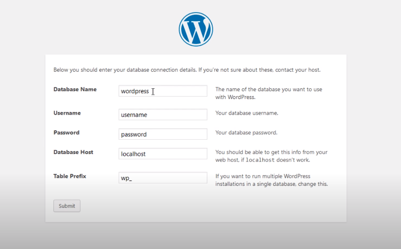 wordpress configuration window name username host
