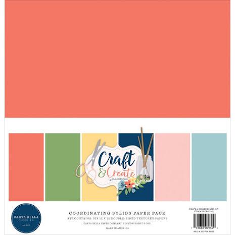 Carta Bella Solid Cardstock 12X12 6/Pkg - Craft & Create