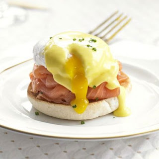 Eggs Benedict with smoked salmon & chives.