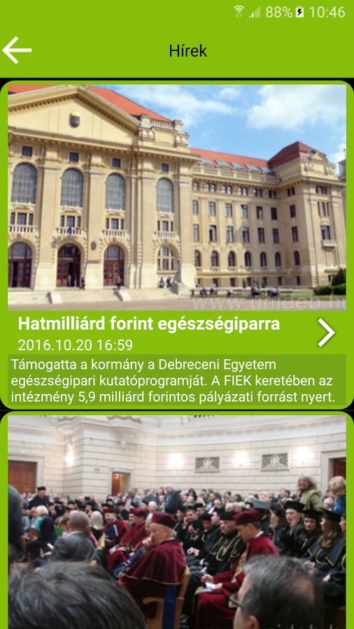 UniDeb Campus App- screenshot