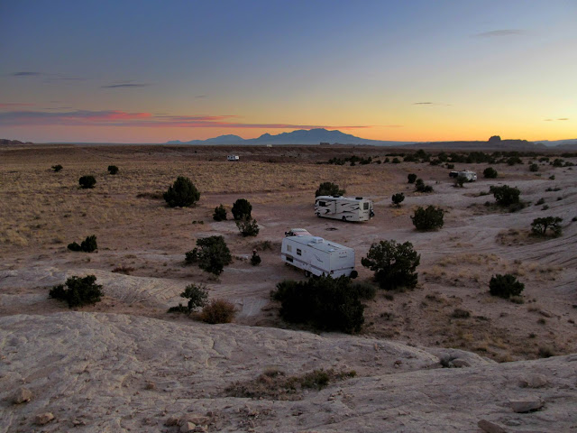 Camp and Henry Mountains at dusk