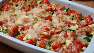 Verduras al horno con mozarella.