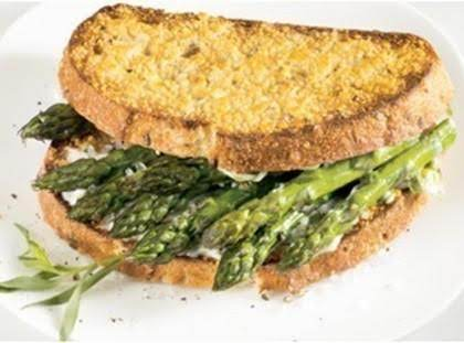 Simplicity Is Often The Best Approach, As Showcased In This Straightforward Sandwich. Quick-roasted Asparagus Is Cushioned Between Two Slices Of Warm Bread That Have Been Coated With Parmesan Cheese And Tarragon-flavored Mayonnaise.