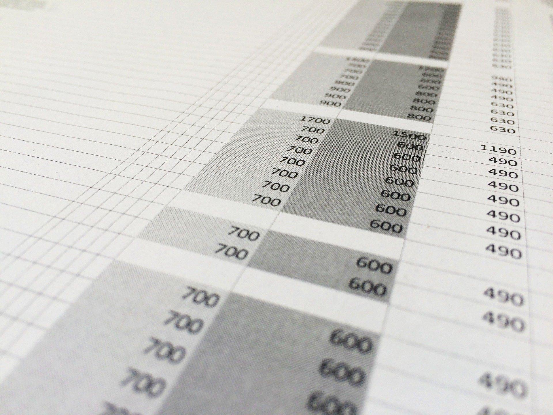 A screen showing an Excel sheet.
