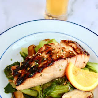 Honey-Orange Soy Glazed Salmon with Bok Choy & Mushrooms.