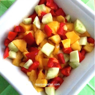 Mango Salad Recipe with Cucumbers and Red Peppers.