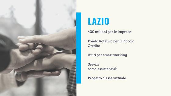 Aiuti coronavirus Lazio